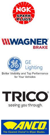 Interstate Batteries, NGK Spark Plugs, Wagner Brake Products, GE Automotive Lighting, Trico, Anco